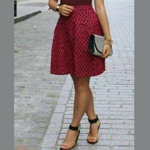 Ann Taylor LOFT Linen Blend Chevron Pleated Skirt